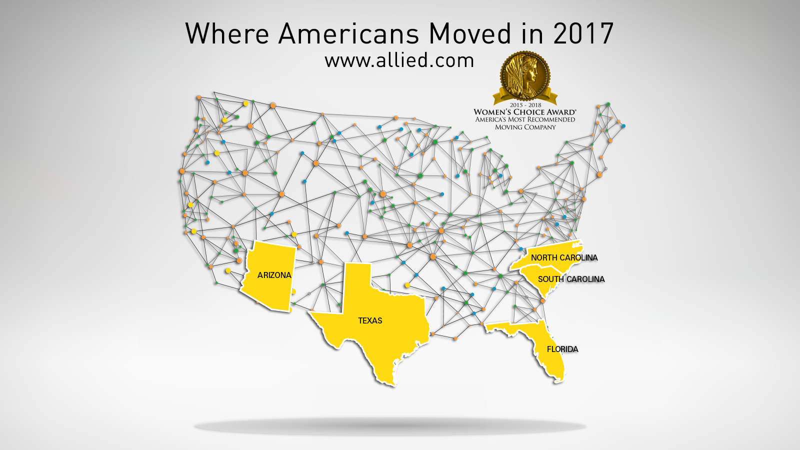 map of top 5 states people are moving to