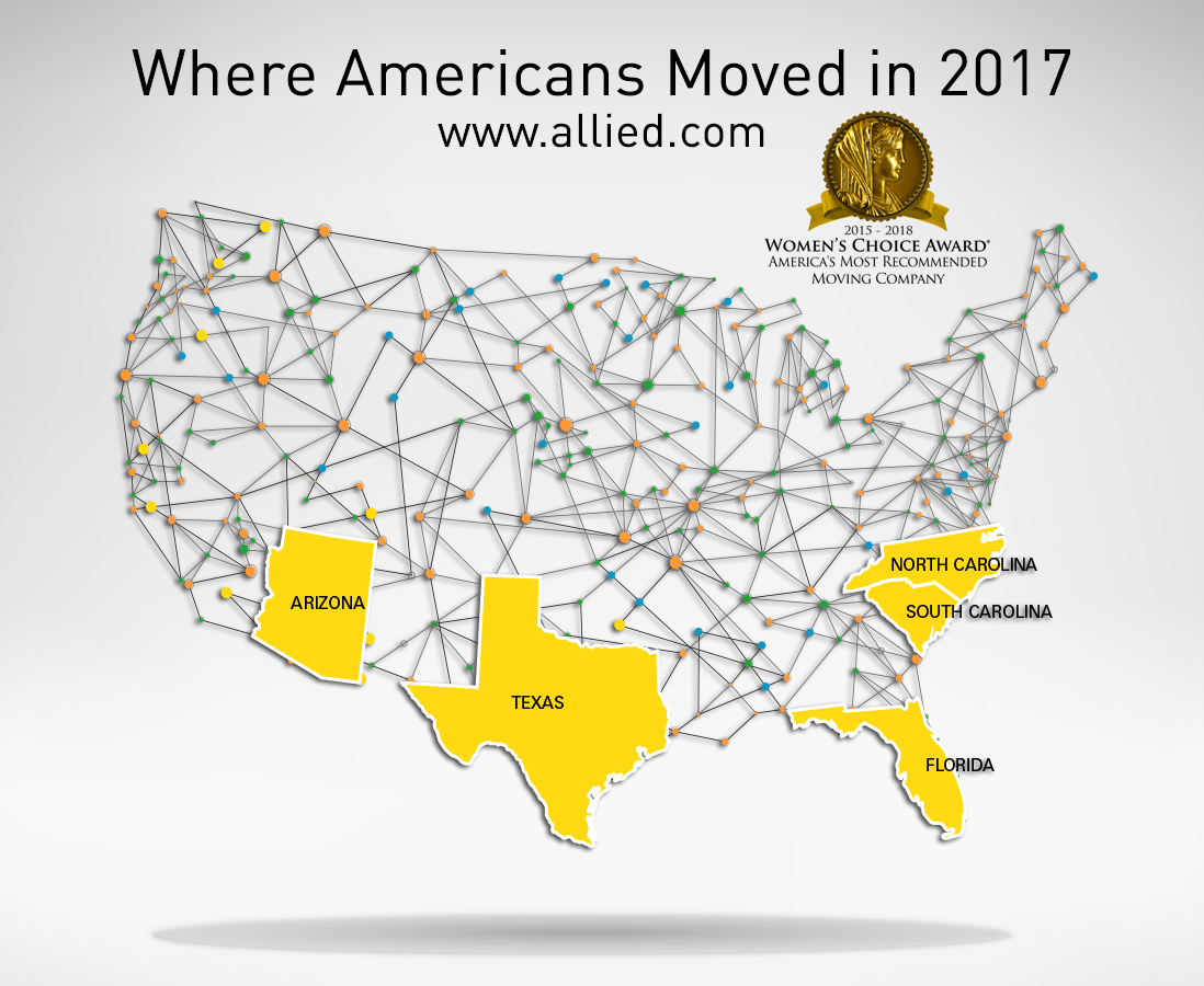 map of Top Moving Destinations for 2017