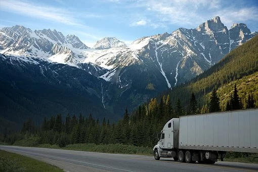 Moving truck in mountains