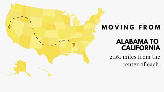 Moving from Alabama to California