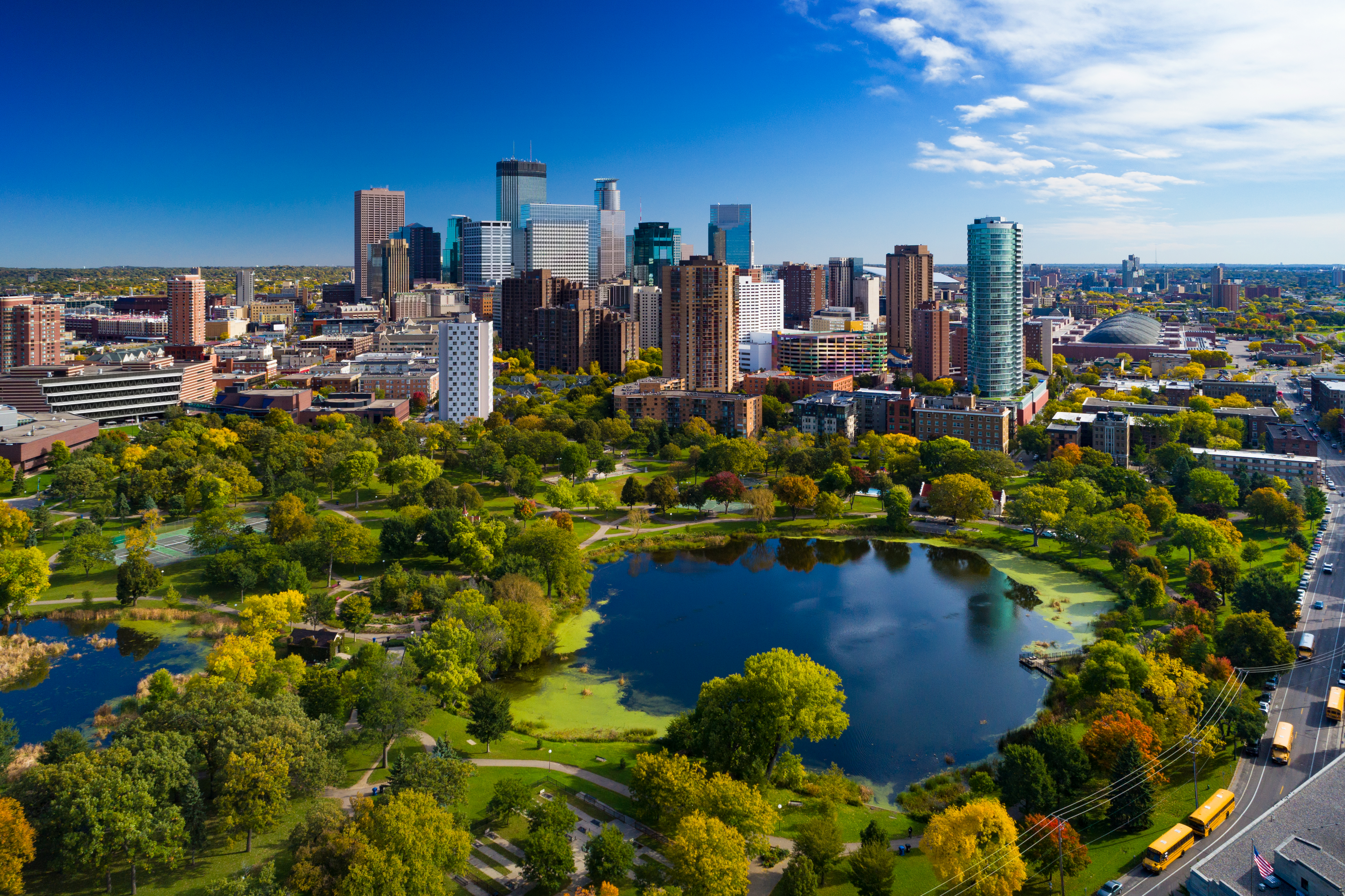 Minneapolis skyline aerial view with park and lake