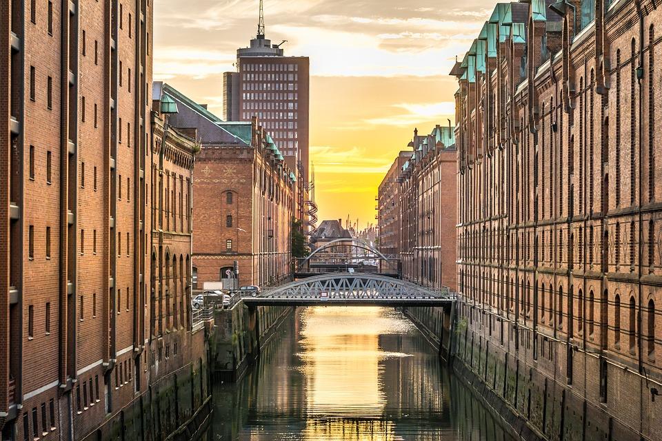 buildings along a waterway in Hamburg