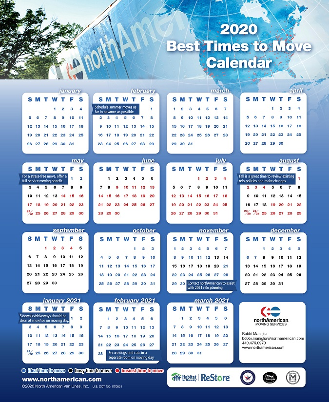 2020 best times to move calendar